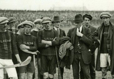 Michael Collins addressing a small group of hurlers