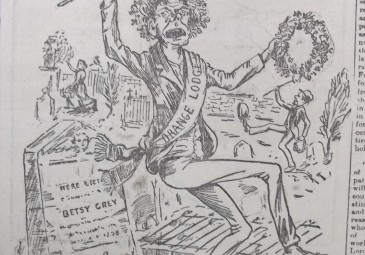 4. 'Orange Rowdyism at Ballynahinch', contemporary depiction of the desecration of the monument by the nationalist cartoonist Phil Blake, Weekly Freeman, 7 May 1898, p. 4.