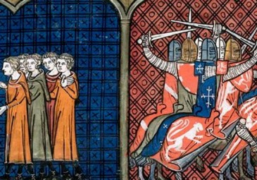 Pope Innocentius III excommunicating the Albigensians (left), Massacre against the Albigensians by the crusaders (right) (British Library, Royal 16 G VI f. 374v)