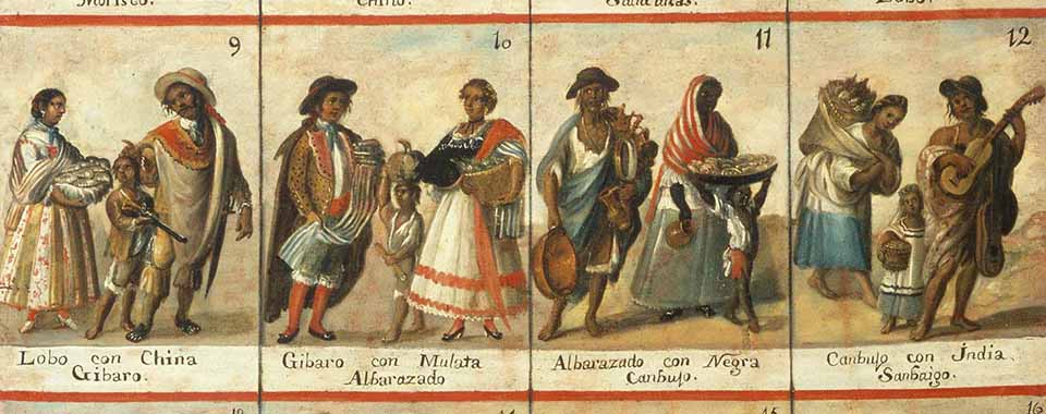 Casta painting containing complete set of 16 casta combinations (racial classifications in Spanish colonies in the Americas)