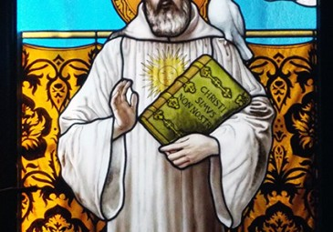 Saint Columbanus, stained glass window, Bobbio Abbey crypt