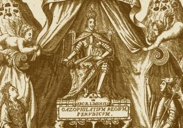 Detail from cover page of Gazophylatium Regium Perubicum by Gaspar de Escalona Agüero, 1647.