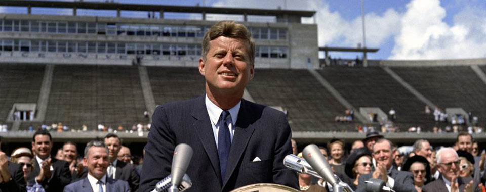 By Robert Knudsen (President Kennedy at Rice University (direct link)) [Public domain], via Wikimedia Commons