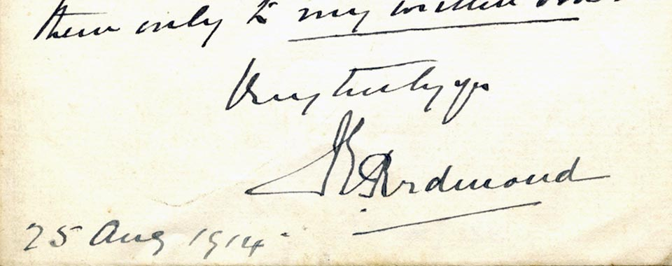 Transcription of John Redmond to Tom Kettle, 25 August 1914. Tom Kettle papers, UCD Archives, IE UCDA LA35/135