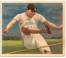 Martin Sheridan 1910 Mecca Cigarettes Champion Athlete and Prize Fighter Series trading card.