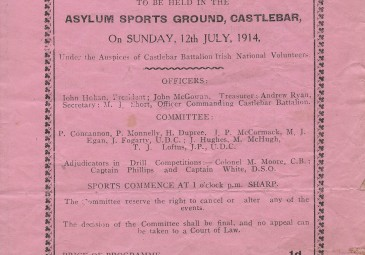 Programme of Grand Tournament and Military Fete, Castlebar, 12 July 1914 O'Rahilly papers, UCD Archives, IE UCDA P102/327 http://www.ucd.ie/archives/html/collections/the-orahilly.htm