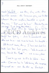 Personal letter of thanks to de Valera from Mrs. Jacqueline Kennedy