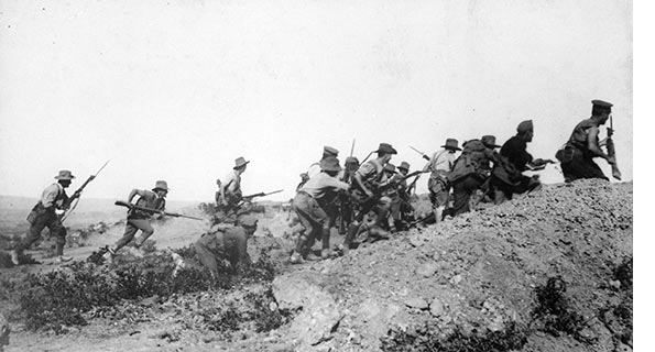 Scene_just_before_the_evacuation_at_Anzac._Australian_troops_charging_near_a_Turkish_trench._When_they_got_there_the.._595