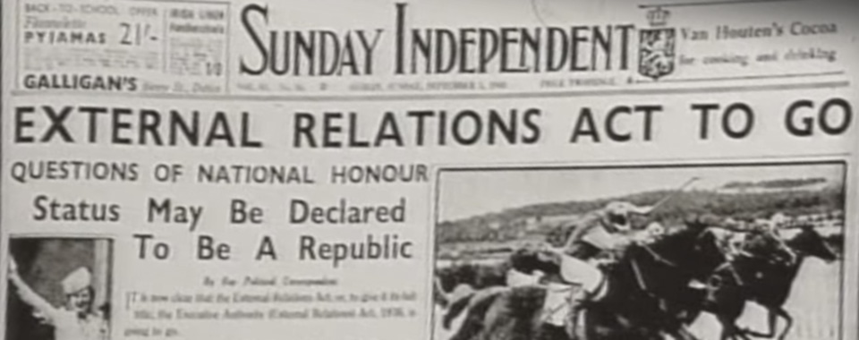 Sunday Independent story claiming that the External Relations Act was to be repealed.