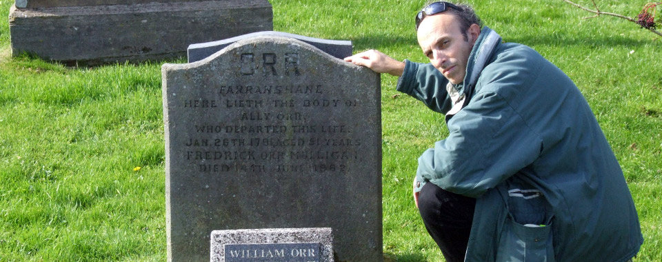 Guy Beiner at the grave of the United Irish protomartyr William Orr. Templepatrick, County Antrim