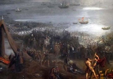 Battle of Clontarf', oil on canvas painting by Hugh Frazer, 1826.