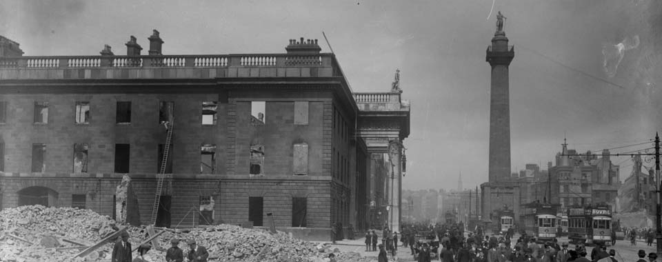 The shell of the G.P.O. on Sackville Street (later O'Connell Street), Dublin in the aftermath of the 1916 Rising
