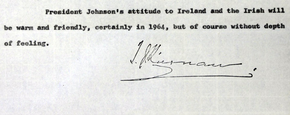 Confidential report of Irish Ambassador Thomas Joseph Kiernan of 4 Dec. 1963 courtesy of the National Archives of Ireland.