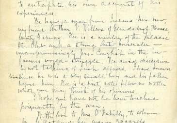 Page 2 of a letter from Edward Nolan to The O'Rahilly, 29th of April, 1915