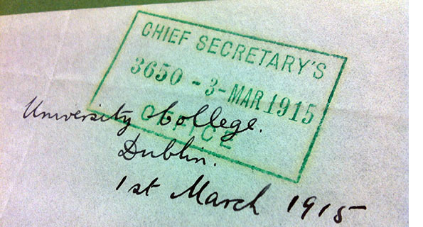 National Archives of Ireland, Chief Secretary's Office Registered Papers CSORP (1915) 3650